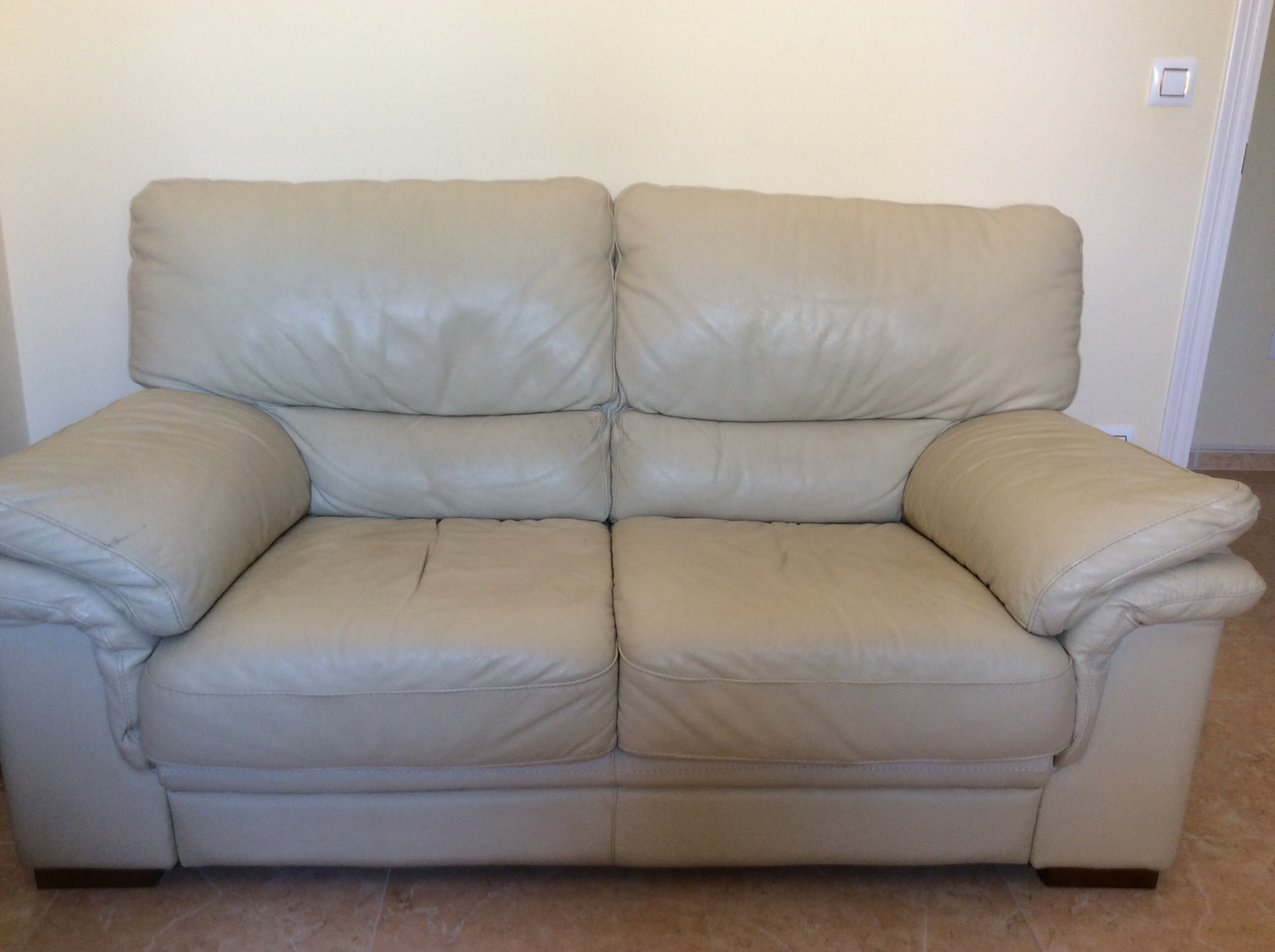 For sale two seater cream leather sofa buy and sell for Sofa almeria