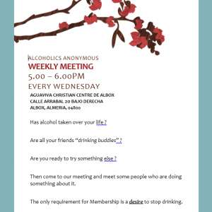Alcoholics Anonymous Weekly Meeting in Albox, Wednesdays at 5.00 – 6.00pm