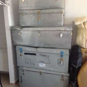 For sale: 5 Metal trunks 1 metre x 0.53 x 0.38, + 3 a little larger. Price per trunk