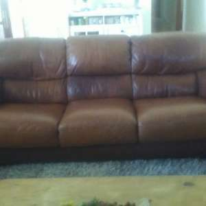 For sale: Large comfortable brown leather sofa now reduced by 75 euros (we need the space quickly) to ...